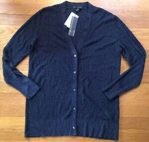 Banana Republic Linen Blend Ribbed Cardigan Sweater Navy Blue NEW Small