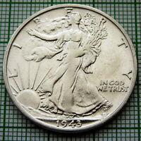UNITED STATES 1943 S 1/2 HALF DOLLAR WALKING LIBERTY, SAN FRANCISCO, SILVER