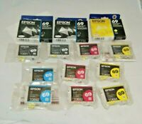 Lot of 13 New Epson 69 Ink Cartridges Black, Cyan, Magenta, Yellow