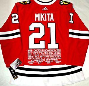 STAN MIKITA CHICAGO BLACKHAWKS NHL CAREER STATS ADIDAS 54 PRO/AUTHENTIC JERSEY
