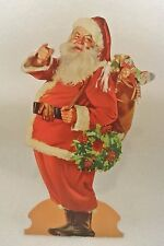 "VTG Santa Claus Cardboard Standee Stand Up Die Cut out 22"" Large Christmas Litho"