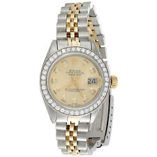 Ladies 18K / Steel Rolex DateJust Jubilee 6917 Diamond Watch Champagne Dial 1 CT