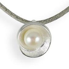 Anhänger Silber weiße Perle Schnecke Blüte rund 925 Sterlingsilber große Öse