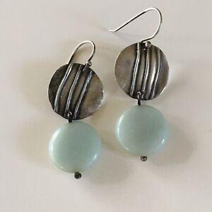 Silpada Teal Blue Green 925 Sterling Silver Modernist Disc Dangle Earrings