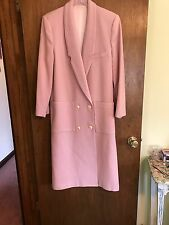 Women CAPRI BY MARIE MIRISOLA (MADE IN USA) PINK LONG WOOL SPRING VTG COAT~SZ 10
