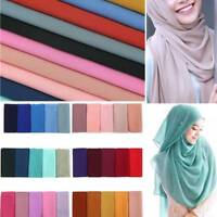 Women Chiffon Scarf Muffler Bubble Solid Muslim Hijab Head Scarves Wrap Shawl