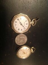 Two Gold Toned Vintage Ladies Swiss Made Sheffield And Bradley Pendant Watches