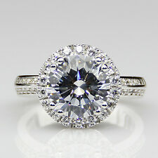 Pave Two Row Accents Engagement Ring Round 2ct Moissanite 14k White Gold Halo