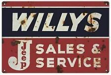 Vintage Antique Style Metal Sign Willys Jeep Service 18x30