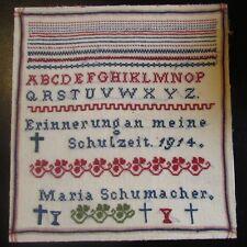 Maria Schumacher ABC 1914 PA Dutch Cross Stitch Sampler Vintage Germany