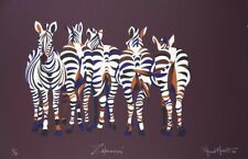 Stewart MERRETT Zebrasses - BIG Signed Original Screenprint, Animal, 1980s Retro