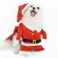 Christmas Pet Santa Claus Suit Costume Dog`Cat Puppy Jumpsuit Cosplay Clothes US