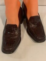 Women's Easy Spirit Brown Leather Heels Pumps Slip-ons Sz 6.5 Snake Skin Design
