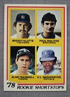 Paul Molitor Alan Trammell Washington Mickey Klutts 1978 Topps Rookie Card #707