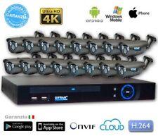 Kit Videosorveglianza IP 4MPX 16 Telecamere 4K 2 led Array telecamera POE H.264