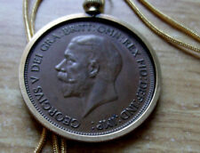 """Mint Cond. 1928 English Uk Penny Pendant Premium 24"""" 18K Gold Filled Snake Chain"""