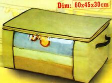 Beige Big Storage Box Under Bed Trunk Chest Clothes Shoes Duvet Toys 60x45x30cm