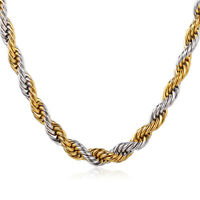 """316L Stainless Steel Men Jewelry Gold Plated Two-Toned Rope Chain Necklace 22"""""""