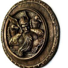 Odin Ravens Scandinavian Art Norse God Wall Bronze Sculpture Home Rustic Decor