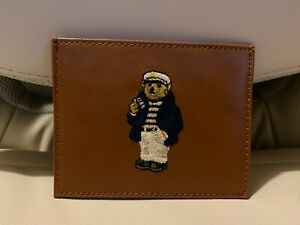 POLO RALPH LAUREN POLO BEAR NAUTICAL LEATHER CARD CASE SLIM WALLET TAN NIB NEW
