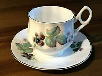 Vintage Royal Victoria Fine Bone China Tea Cup Saucer Berries Made in England