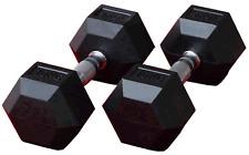 2 x 25KG Hex Rubber Coated Dumbells, Hexagonal Fixed Ends, Chromed Ergo Handles