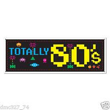 "Retro 1980s Decade Party Decoration SIGN BANNER 60""x21"" Arcade Icon TOTALLY 80s"