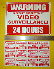 warning VIDEO SURVEILLANCE CCTV sign 24 hour security + 12 window stickers home