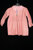 VERY RARE DEADSTOCK FRENCH 1930'S GIRLS RED & WHITE PRINT COTTON DRESS SIZE 2-3