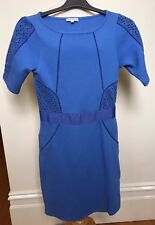 REISS Cornflower Blue Stretch Textured Cotton Short Sleeve Fitted Shift Dress 8