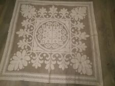Vintage cream woven table cloth Square