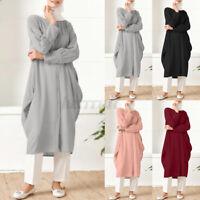 ZANZEA UK Womens Muslim Long Sleeve Shirt Buttons Casual Solid Tops Dress Blouse