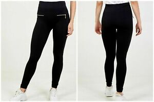 New Womens Ladies Winter  Warm Sports  Fleeced Leggings With Gold Front Zip