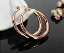 Rose Gold Plated 925 Sterling Silver Post Lightweight Hoops Hoop Earrings for Wo