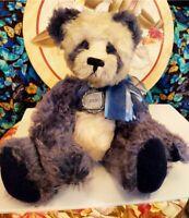JAYMAR CREATIONS Blue White VINTAGE Mohair Panda Teddy Bear by Ellen Kislingbury