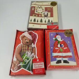 American Greeting Cards Christmas 18 Cards Teddy Bear Santa Noel New Lot 3