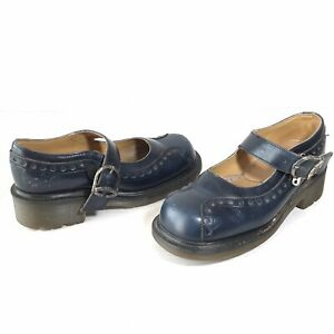 Vintage Dr. Martens Womens Size 5 Blue Leather Mary Janes 8307 Made In England