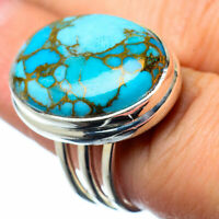 Large Blue Copper Turquoise 925 Sterling Silver Ring Size 7.25 Jewelry R28239F