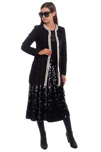 RRP €435 ALICE + OLIVIA Boucle Blazer Jacket Size XS Lame Contrast Colour Trim