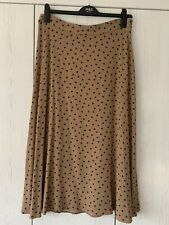 M&S BNWT Camel & Navy Polka Dots A-Line Skirt Size 14 Long Summer Spring RRP £35