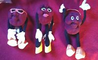 California Raisins set of three dancers, vintage plush poseable figures, 1988
