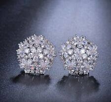 18k White Earrings made w/ Swarovski Crystal Stone Bridal Wedding Earrings