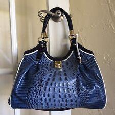 Brahmin Elisa Hobo Bag Denim Blue Tri Texture Melbourne Leather