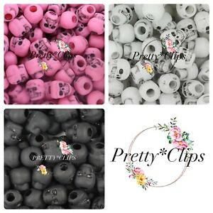 4 for 3 Skull Pony Beads 15x 10mm Craft Halloween Pirate Goth