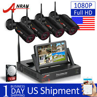ANRAN 1080P 4CH CCTV Security Camera System Outdoor Wireless WIFI NVR 1TB HDD IP