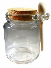 24ct Premium 8oz Reusable Chefs Glass Spice/Salt Jar with Wooden Spoon with cork