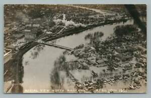 Minnesota River Flood MANKATO Vintage Disaster Photo RPPC Railroad Aerial 1951