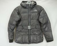 The North Face 550 Down Puffer Jacket Belted Coat Gray Youth Girls M 10/12