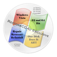 Windows Vista SP2 DVD 32-64bit Install, Recovery, Repair + 32GB USB DRIVERS w/HD