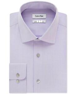 Calvin Klein Mens Dress Shirt Purple Size 22 Performance Tall Solid $79- #187